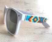 White Frame Native American Hand Beaded Sunglasses