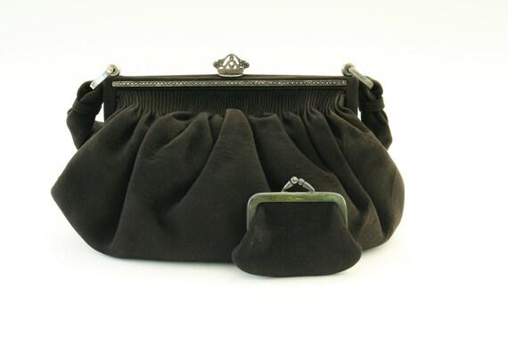 RESERVED FOR LEAH Vintage clutch, black suede purse with  Sterling Silver frame, antique leather handbag, Victorian handbag