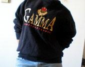Gamma CREWNECK Sweatshirt 90s Tennis PREPPY Crown Gold Slouchy
