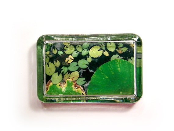 Water Lilies Glass Paperweight - Dimensional Photo Sculpture