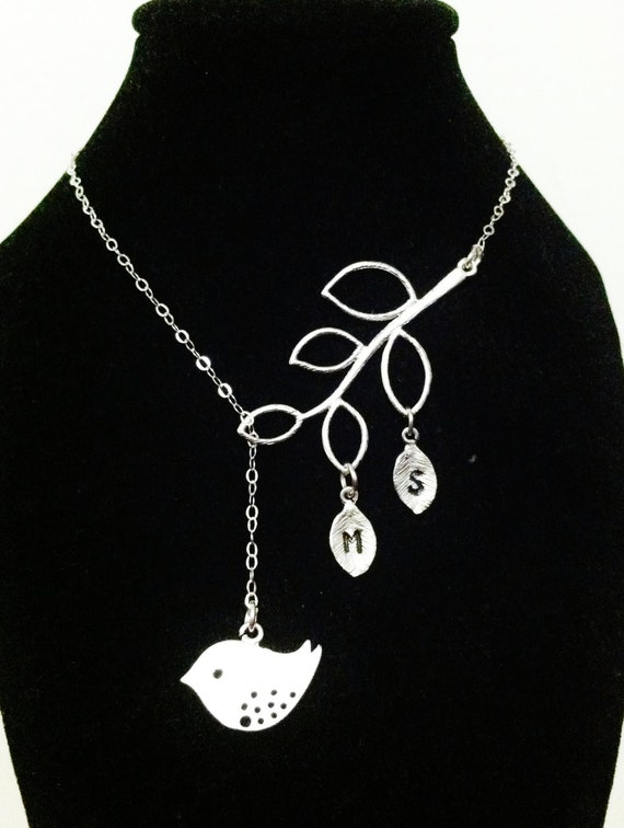 STERLING SILVER chain,Bird and Branch necklace,love bird necklace,initial necklace,personalized bird necklace,gift for mom,new mom gift