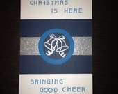 Christmas is here Bringing good cheer - Carol of the Bells - silver bells Christmas card