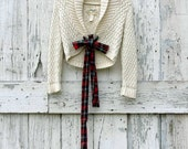 Cream of Tartan Tie Cardigan upcycled cream shrug eco friendly cable knit sweater Christmas holiday