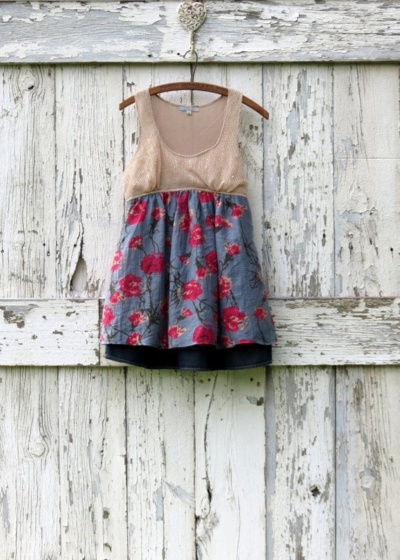 Twinkle, Twinkle, Little Tank upcycled romantic babydoll tank tunic eco friendly sequined tank top summer