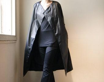 Womens Black Coat- Long Winter  Rain Coat- minimalist coat- black coat