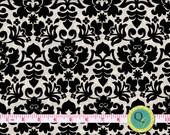Designer Fabric By the Yard Black and Cream Damask Fabric Black Damask Print on Cream Background Bold Modern Fabric Design