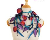 SALE!  felt, felted necklace, collar, flowers and leaves II - by inmano