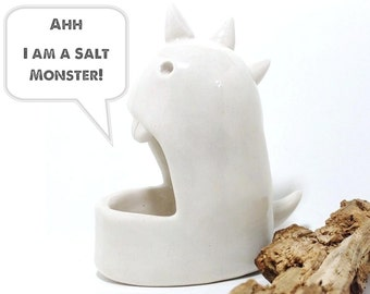 Salt Monster Danny Dinosaur Salt Cellar Sculpture Foodie Fun Unique Kitchen Ware MADE TO ORDER