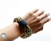 Crochet I cord Bracelet in yellow and grey
