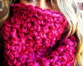 Raspberry Red EXTRA CHUNKY COWL, thick neck warmer, chunky scarf, womens cowl, extra warm, extra big, extra soft