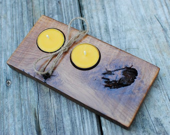 Reclaimed Oak Barn Wood 2 Tealight Holder with 100% Beeswax Candles