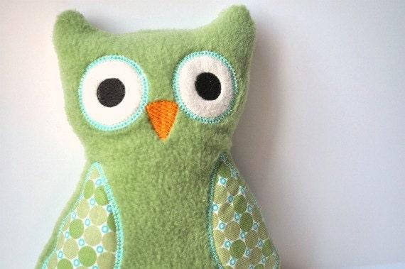 Plush Owl - Green Owl Stuffie - Cute Owl Toy Plush - Polka Dot Owl - Baby Gift Owl