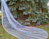 Custom Long Royal Cathedral Length Wedding Veil 1 Tier Cut Edge Crystals on End
