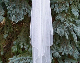 Fingertip English Net Wedding Veil Made to Order 1 Tier Scalloped Edge