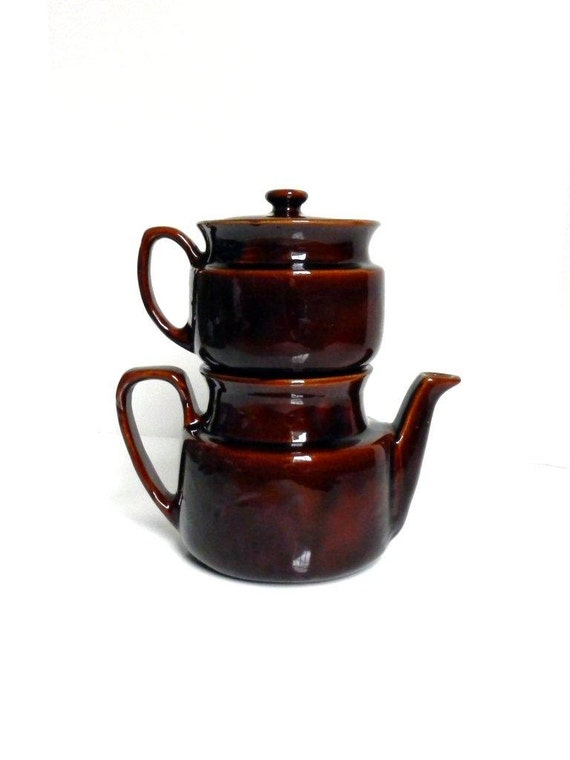 Vintage Usa Pottery Double Ceramic Teapot Infuser Brownware