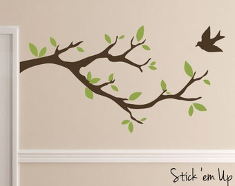 Tree Bird Branch Vinyl Wall Decal Sticker Leaves Modern Contemporary Nursery Living Room Decor Bedroom Baby EntryRoom