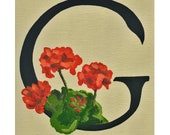 Floral Alphabet, 5x7 print, G is for Geranium