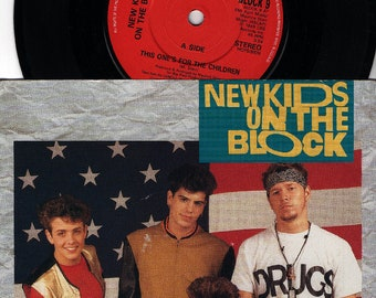 """NEW KIDS On The BLOCK This One's For The Children 1990 Uk  Issue 7"""" 45 rpm Vinyl Single Record Pop 90s Nkob Boy Band Block9 Free S&h"""