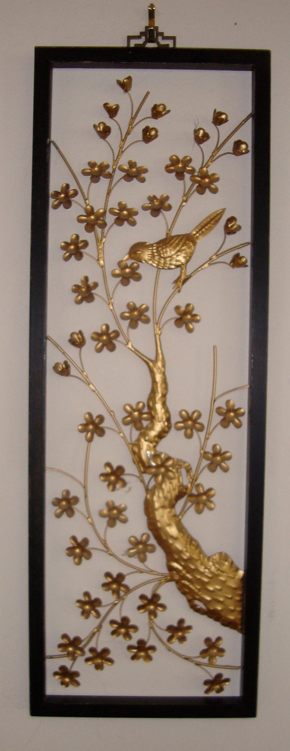 Oriental Metal Wall Decor : Gorgeous vintage asian metal sculpture wall art bird and