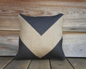 Black Chevron Pillow, Burlap, Decorative Throw Pillow, Geometrical, Arrow, Industrial