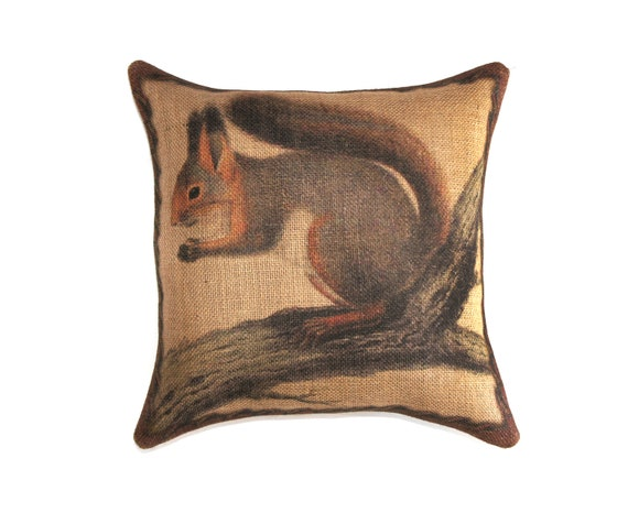 Burlap Throw Pillows Etsy : Squirrel Pillow Burlap Throw Pillow Decorative Rustic