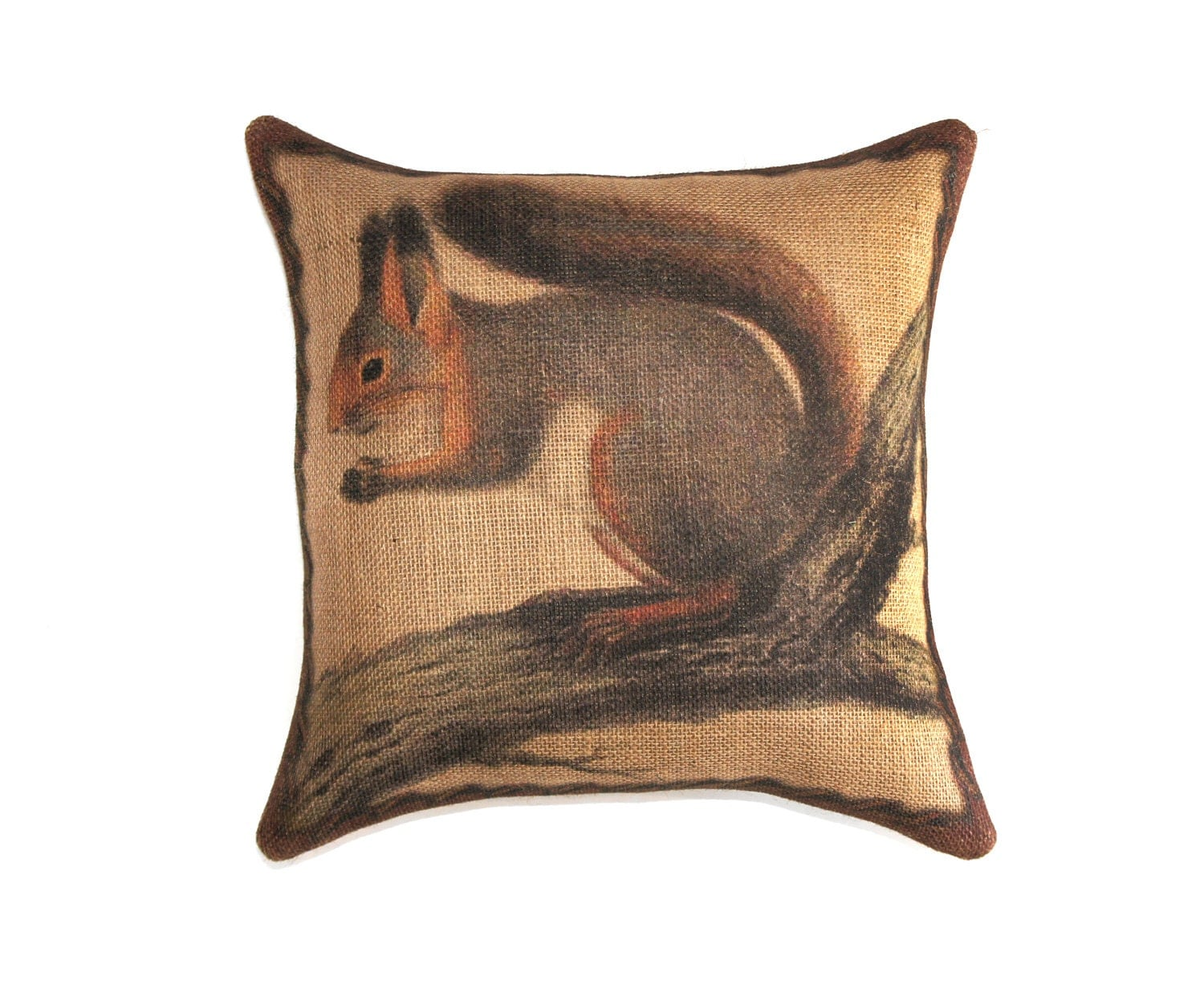 How To Make A Burlap Throw Pillow : Squirrel Pillow, Burlap Throw Pillow, Decorative, Rustic