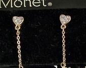 Signed Monet Dangling rhinestones hearts dangling single pearl pierced earrings