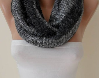 Valentine's Day Gift Light and Dark Grey - Wool - Fabricknitted Fabric Infinity - Circle -  Loop Scarf  Valentine day gift