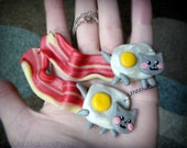 Nyan Cat BACON Meme Necklace Geek Jewelry, Polymer Clay Hand Made