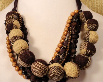 Brown Plaid Bead and Ribbon Necklace