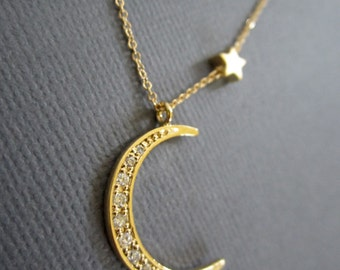 18k vermeil Moon, I love you to the moon and back, Star and Crescent Moon Necklace, Gold Moon star necklace, Moon necklace, Star necklace