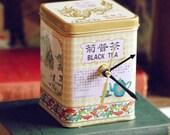 Chinese Black Tea Tin Desk Clock