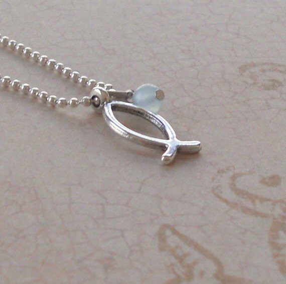 Christian ichthus fish necklace silver small by paisleybeading for Christian fish necklace