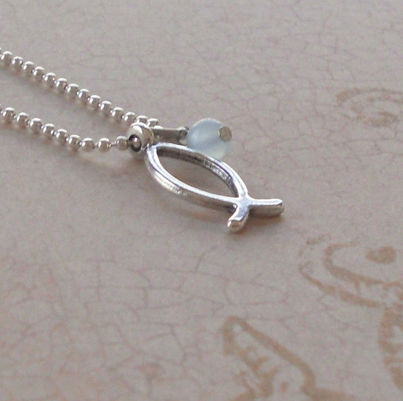 Christian ichthus fish necklace silver small by paisleybeading for Jesus fish necklace