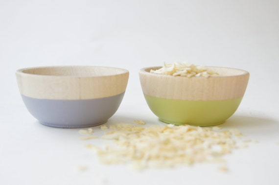 Wooden Mini Bowl Set of Two: Lavendar and Pistachio