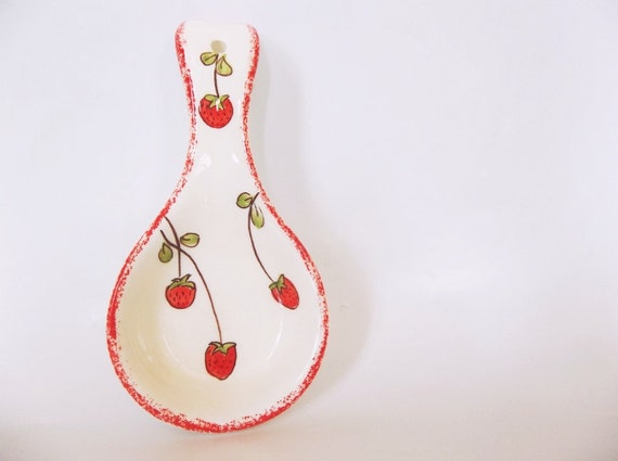 Red Strawberry Spoon Holder | Ioanna's Very Chic Shop | Etsy