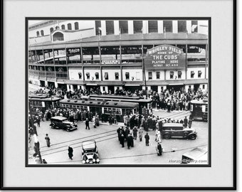 Vintage Chicago Cubs World Series at Wrigley Field 1935 - Black and White Chicago Cubs Picture