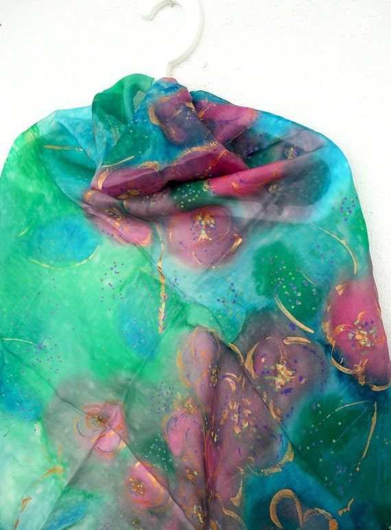 Silk Scarf. Hand Painted square Silk Scarf. Handmade Emerald Green, Blue, Pink Shawl. Silk Scarves. 35x35in. (90x90cm). Ready to Ship.