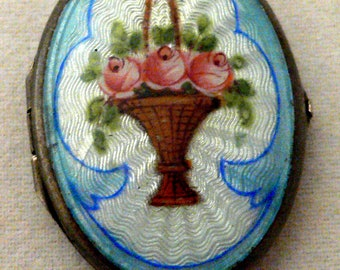 Vintage Sterling Silver Guilloche Enamel Photo Locket with Handpainted Roses