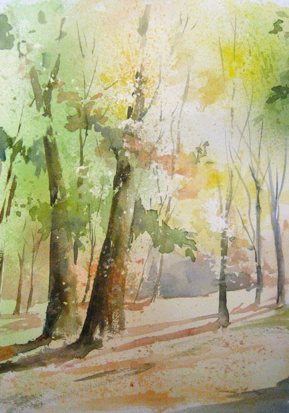 Items Similar To Sunlit Trees Original Watercolour