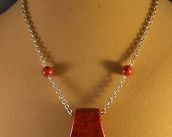 Red Sponge Coral Wedge and Sterling Necklace