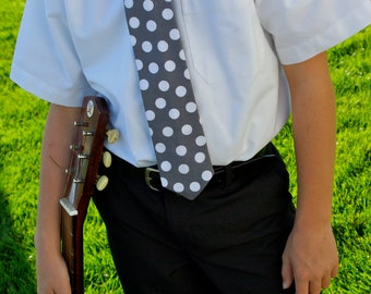 Grey and White Polka Dot tie for Teen's and Men  by GreenStyle