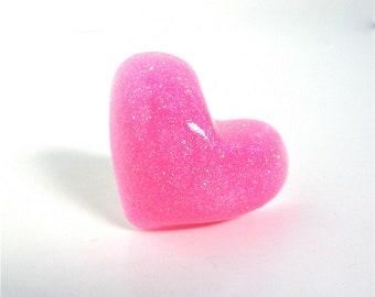 Big pink heart ring - big heart ring - glitter resin ring - resin heart ring - big pink ring - by Sparkle City Jewelry