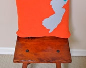 Fun NEW JERSEY state art Decorative Pillow 18x18 bright orange grey teal wool felt applique w/ down pillow insert