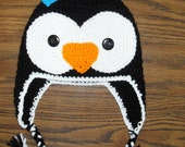 Penguin Earflap Hat w/Ties