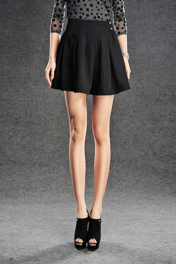 Items similar to Vintage Mini Skirt Pleated Skirt Black Flared ...