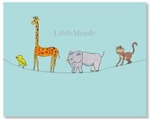 Baby Boy Nursery Prints, Zoo Prints, Jungle Prints, Blue Nursery Prints, Elephant Print, Monkey, Giraffe, Bird