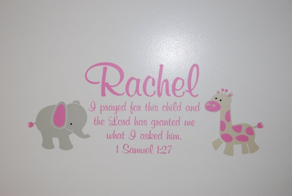 1 Samuel 1:27 Bible Verse Scripture Verse Child Name Personalized Vinyl Decal with Elephant and Giraffe Girls Room- 1SAM1V27-0014