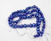 Royal Blue Freshwater Pearls, 5-6mm Nugget Pearls---full strand