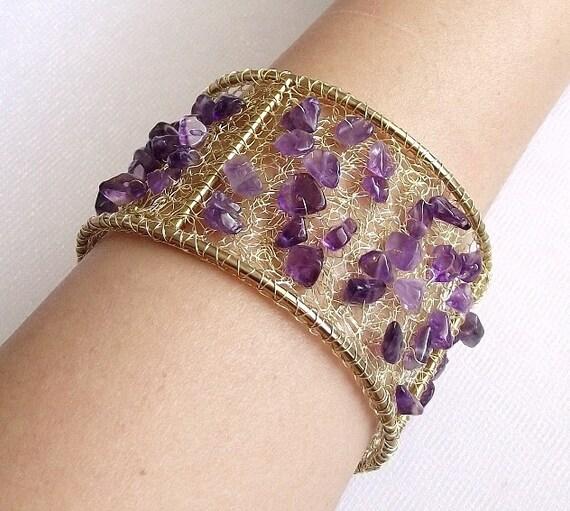 Crochet Wire Bags : Amethyst crochet wire bracelet crochet wire jewelry gemstone bracelet ...